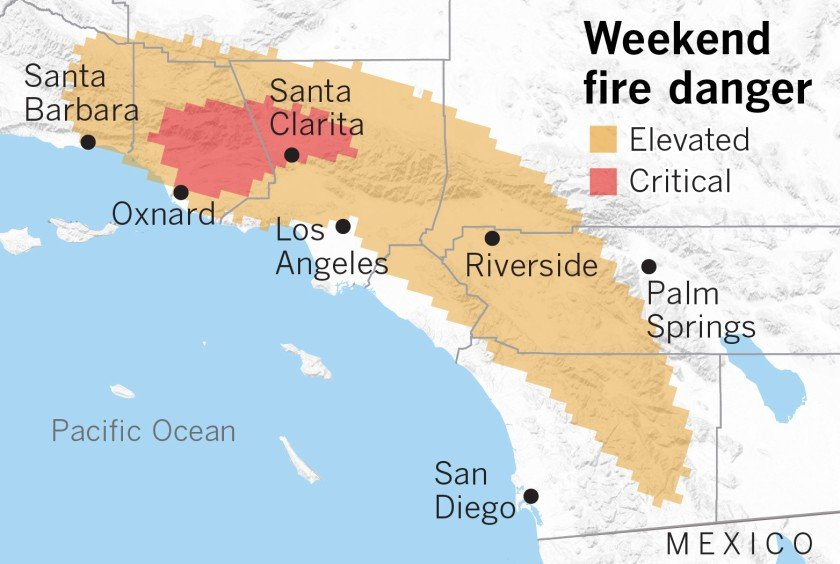 國家氣象局奧克斯納德(Oxnard)辦公室已經發佈火情監控。洛杉磯時報