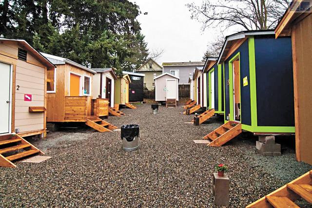 在西雅圖北湖地區設立的無家者迷你村。LIHI