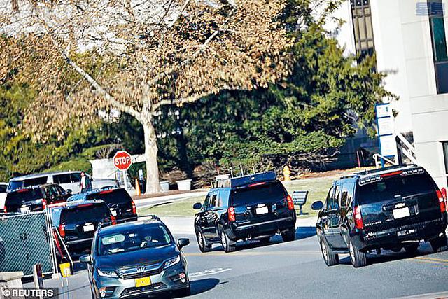 ■特朗普的車隊周六抵達沃爾特里德陸軍軍事醫學中心。路透社