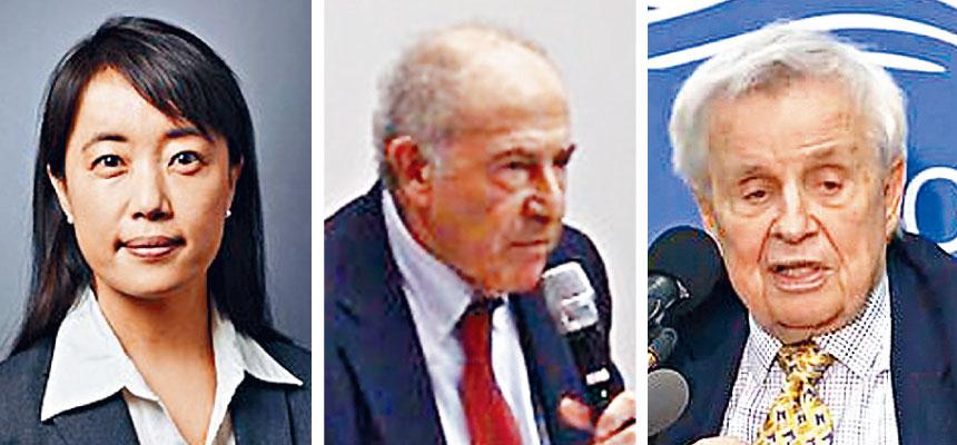 由耶魯大學醫學院教授班迪.李(左)、喬治華盛頓大學教授津納(中)和中情局前分析員波斯特(右)帶領的專家小組,致函眾議院司法委員會,促國會密切留意特朗普的精神狀態。網上圖片