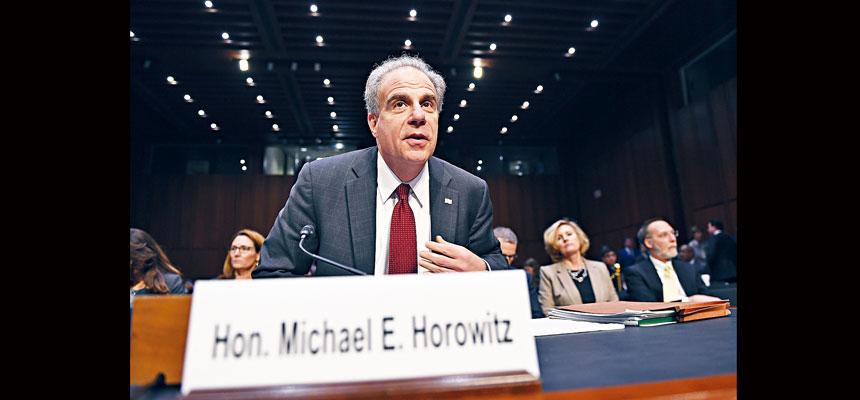 司法部總監察長霍洛維茨在參院聽證會上,未否認通俄門調查可能有政治動機,但否認是還前FBI局長科米清白。美聯社
