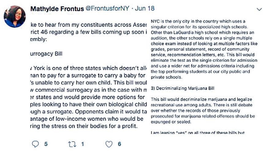 馮特絲曾發推表示傾向取消特殊高中入學考試法案。   圖片來自馮特絲推特