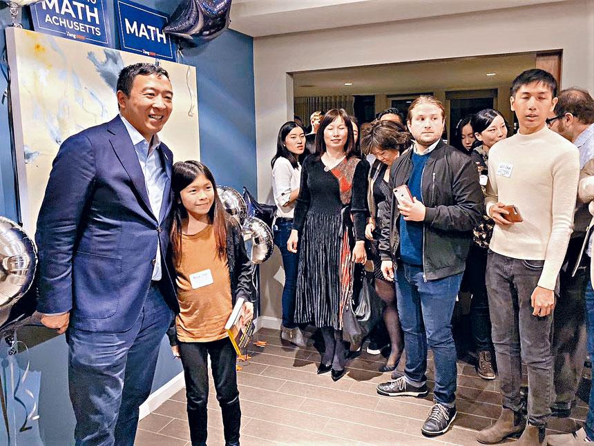 楊安澤同麻州華人選民舉行見面會。李强攝