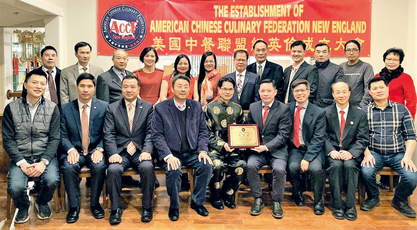 美國中餐聯盟成員及嘉賓合影。