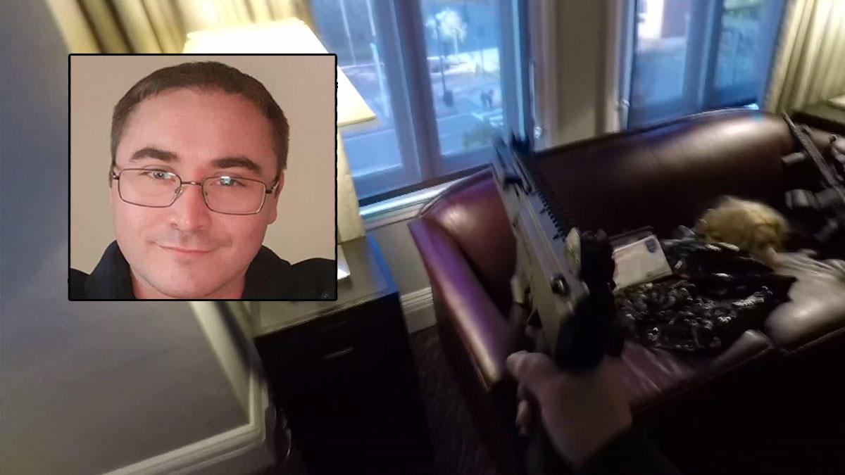 聖地牙哥一擁槍男子Steve Homoki 上傳在飯店房間朝窗下行人射擊的模擬視頻 遭警逮捕。Nbc 7 San Diego
