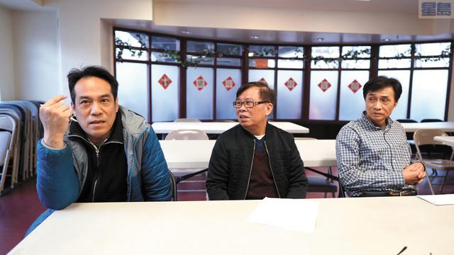 (左起)三陽餐館老闆謝德能、富豪參茸老闆邱在、康華藥材老闆李偉超。記者黃偉江攝