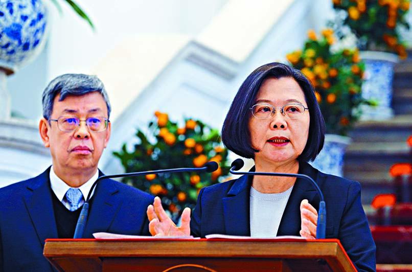 蔡英文指中國應盡國際責任,讓疫情 公開透明。 中央社