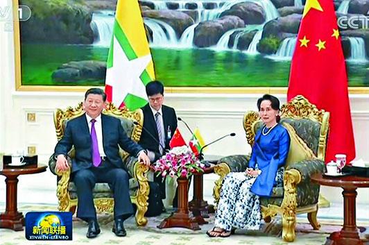 習近平昨天訪問緬甸,和昂山素姬會面。