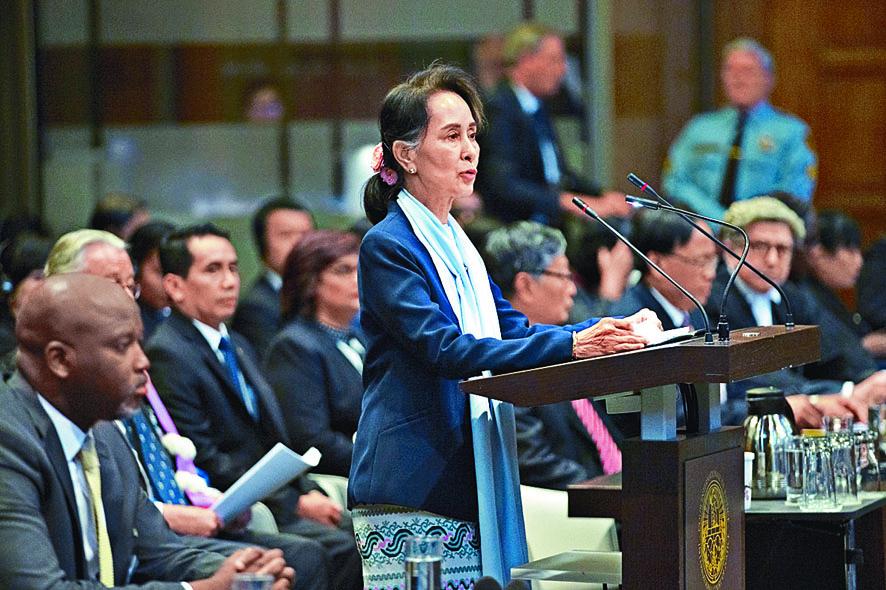 昂山素姬上月在國際法院親自為緬甸辯護。資料圖片