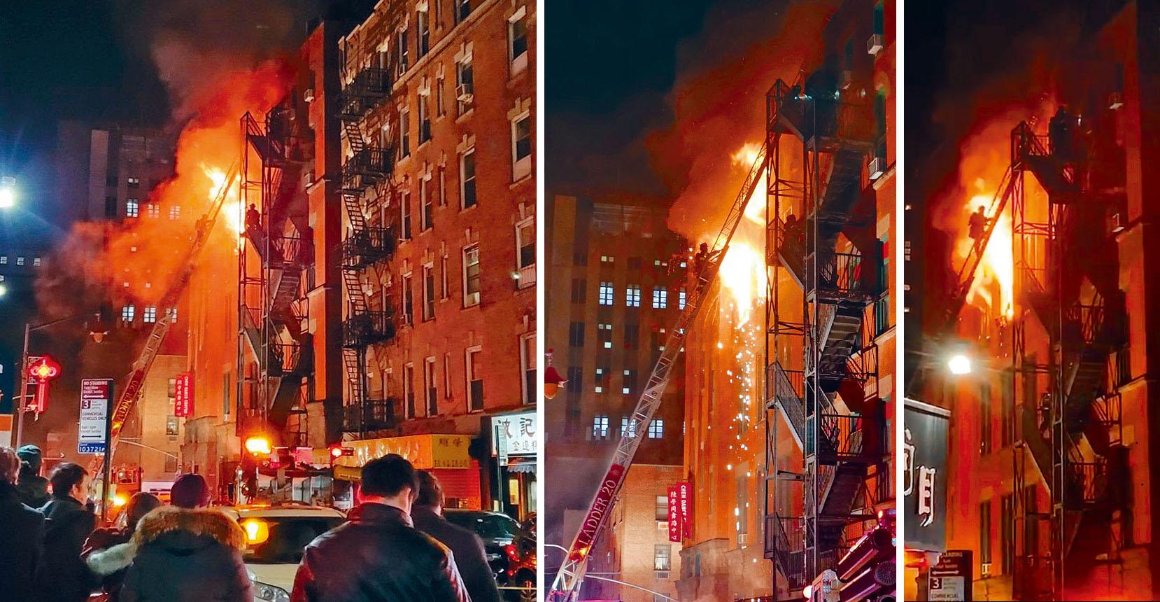 (左圖)群眾圍觀救火。(中圖)消防員勇赴災場。(右圖)消防員小心奕奕接近火場。