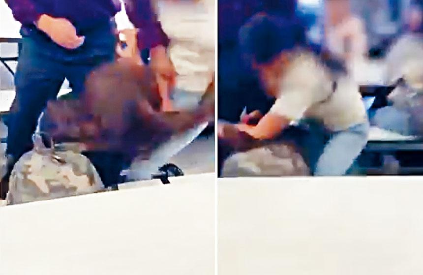 網上視頻可見,兩名女生在拳打腳踢及拉扯頭髮。影片截圖