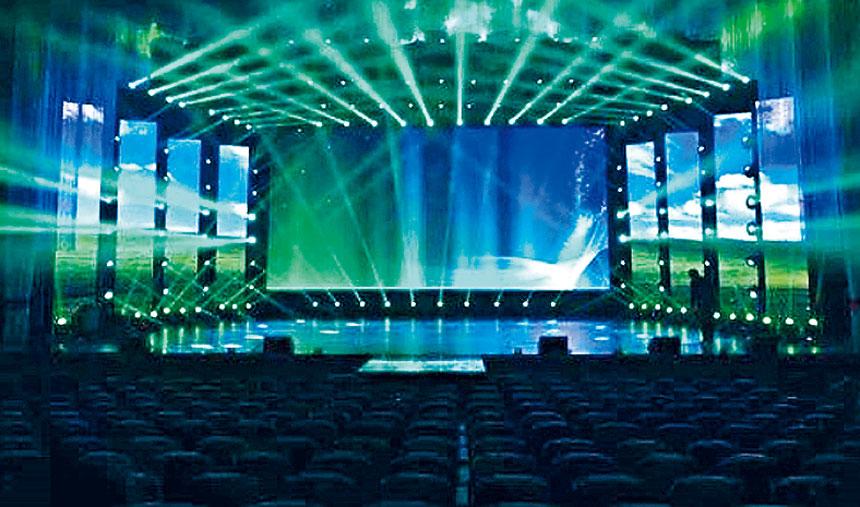 LED最新潮流的現代聲光電子舞台超大背景。