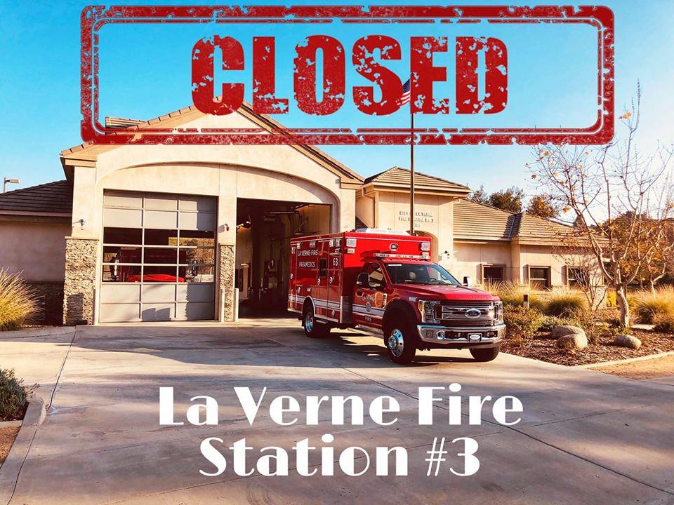 拉汶市埃斯佩蘭薩大道5100號的3號消防站宣布關閉六週。La Verne Firefighters' Association L-3624臉書