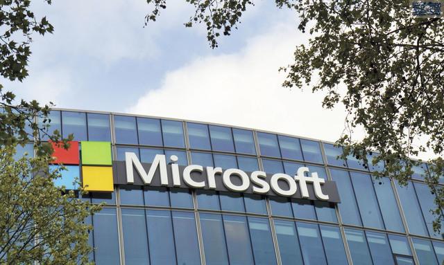微軟公司股票最近連續創下新高。圖為微軟位於巴黎的法國總部樓外。美聯社