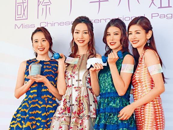 黃嘉雯(左2)即將出戰,王菲及古佩玲及陳熙蕊送上窩心禮物支持好姊妹。