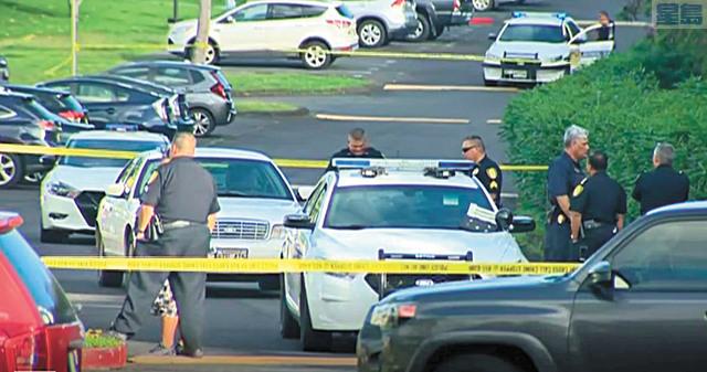 大批警員在擊斃逃犯現場調查。電視截圖