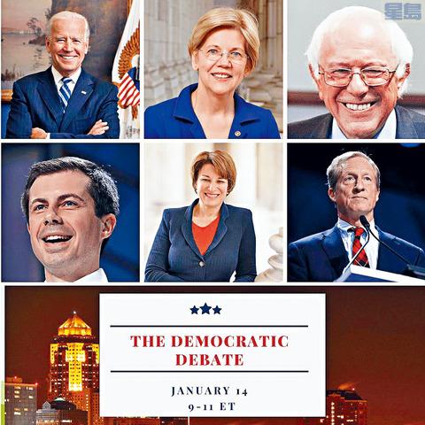 民主黨初選前最後一場辯論,只有6人符合資格,包括(首排左起)拜登、沃倫、桑德斯、(下排左起)布迪治、克羅巴卡及史泰爾。 網上圖片