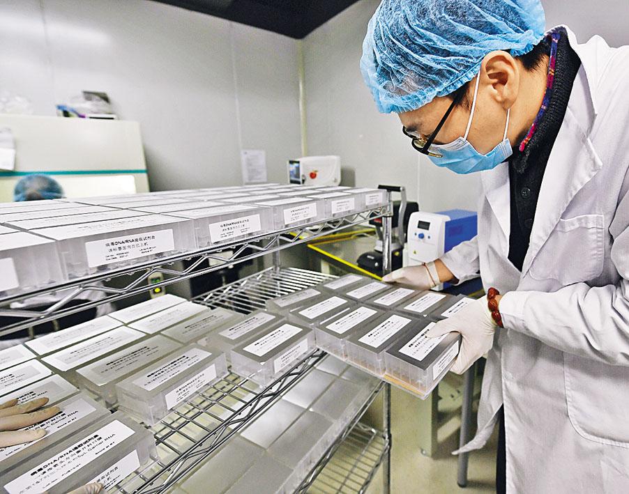 成都生物科技公司員工生產病毒核酸提取試劑盒。 新華社