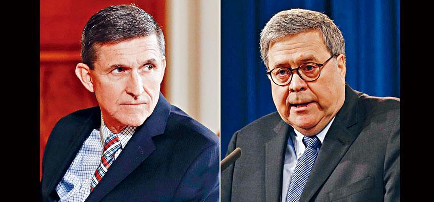司法部長巴爾(右)任命另一個州的檢察官,重新審查華盛頓特區聯邦檢察官對前國家安全顧問弗林(左)的案件。電視屏幕截圖