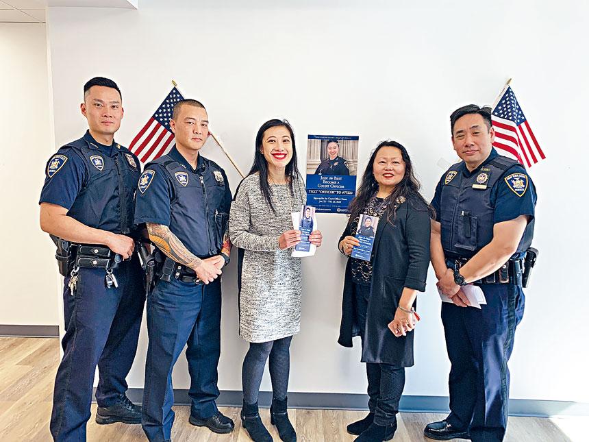 江思濬(右起)、凌德麗、黃敏儀、Rick Chan及Peter Tam鼓勵華裔投考紐約州法庭察,為社會服務。