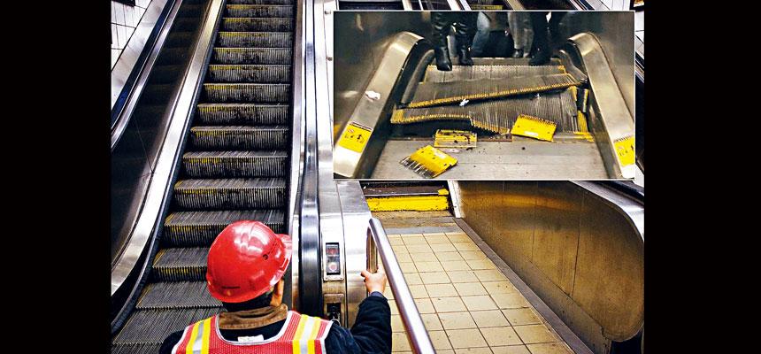 MTA被指責扶手電梯維護不善,小圖為去年2月在第5大道/53街車站的事故現場。Christian Hansen/紐約時報、推特圖片
