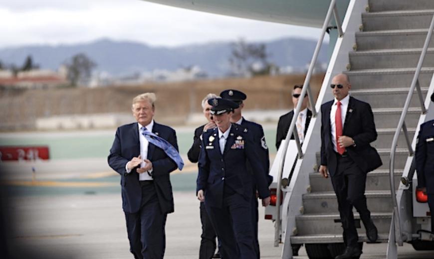 特朗普去年4月訪洛杉磯。龐可陽攝