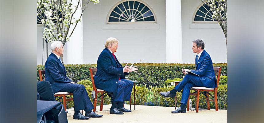 總統特朗普在白宮的玫瑰花園接受霍士新聞訪問時表示,希望美國經濟活動能夠在復活節,即下月12日前重新啟動。    美聯社