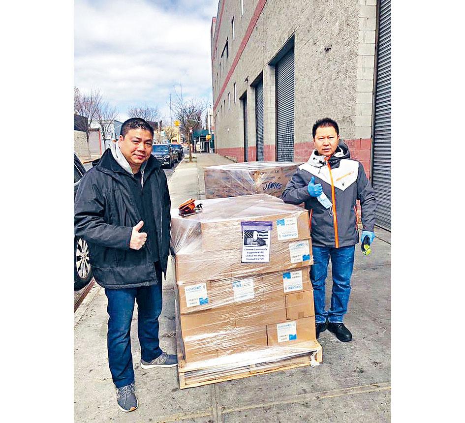 市警亞裔警員組織玉石協會將募集而來的物資分發給更多面臨物資困境的市警分局。 NYPD提供