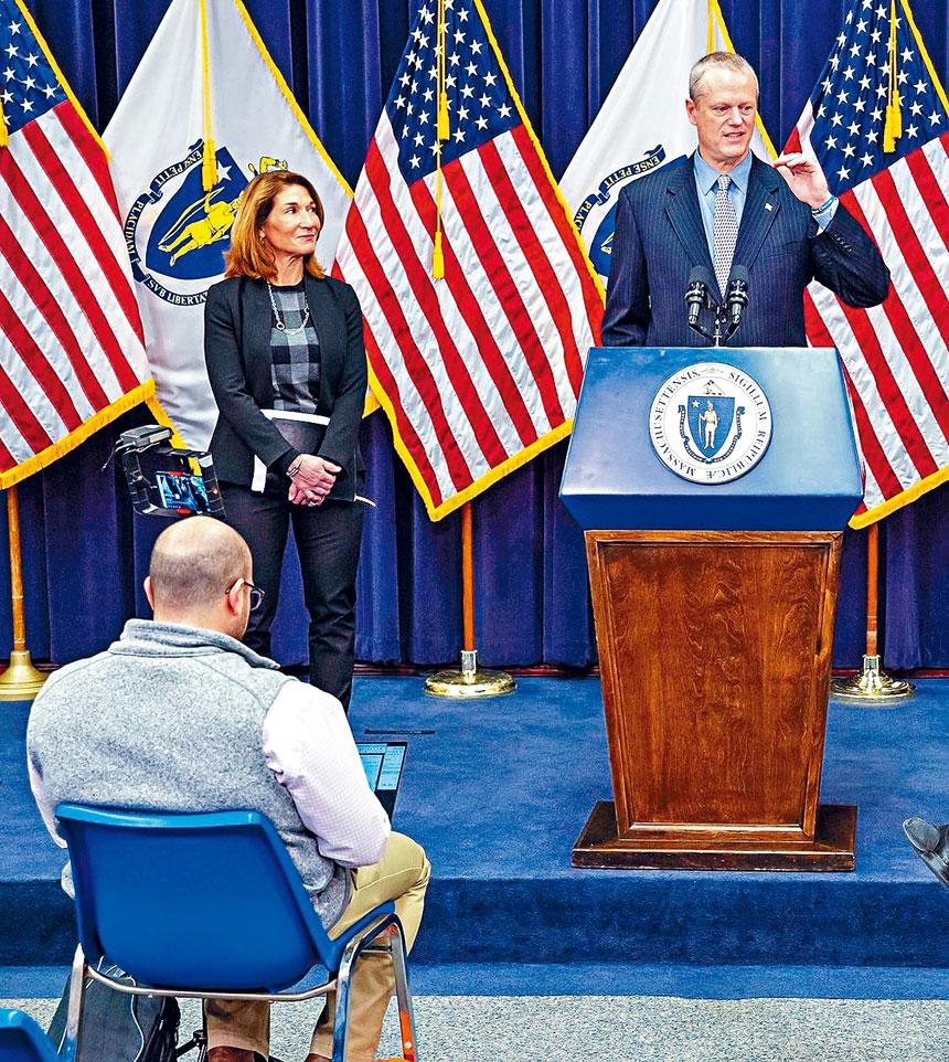 (右起)州長查理貝克、副州長白麗朵在新聞發布會中。州府提供