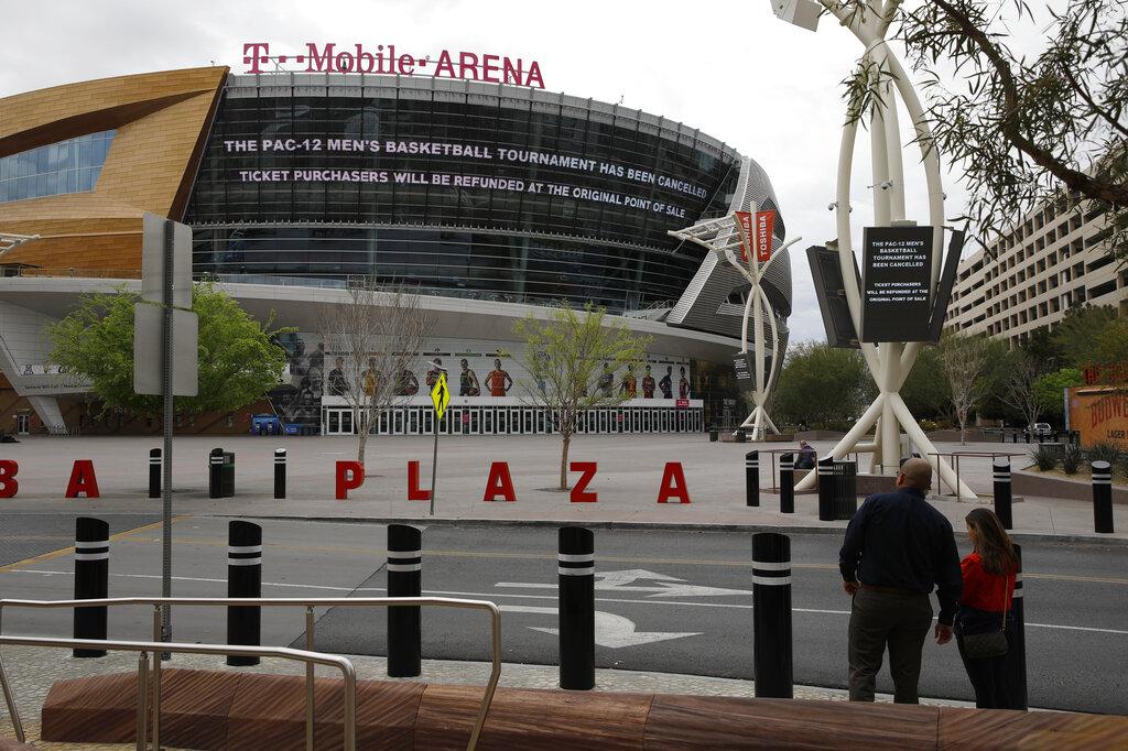 原訂12日在賭城T-Mobile運動館舉行的Pac-12男子籃球比賽因疫情而宣布取消。美聯社