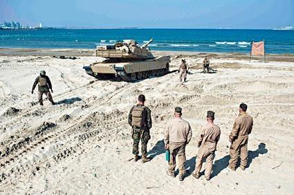 參與美韓聯合軍演的美國海軍陸戰隊。