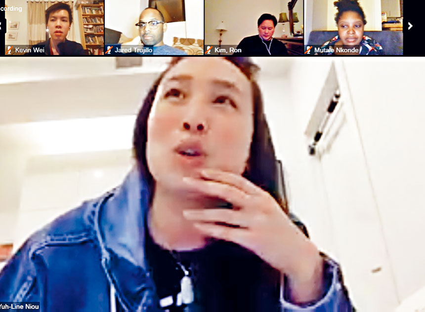 牛毓琳在會上講話。