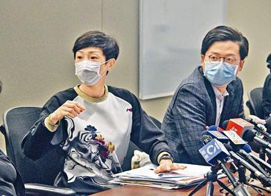 陳淑莊(左)於本周二與林瑞華出席記者會時,陳疑穿上前夜到酒吧暢飲的同一套服裝。