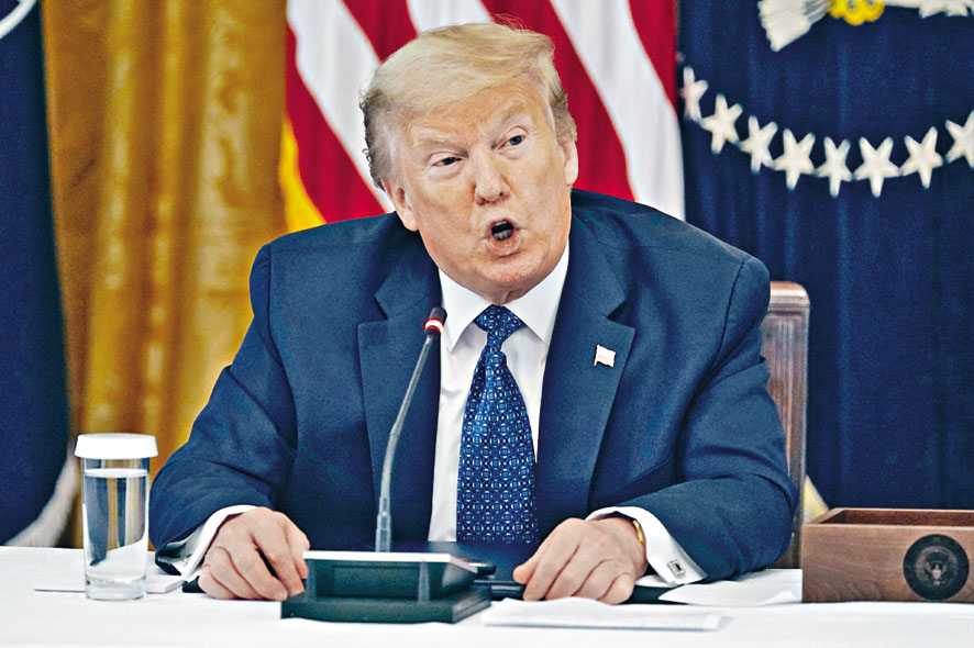特朗普稱他對中美貿易協議已不 覺得重要。  美聯社