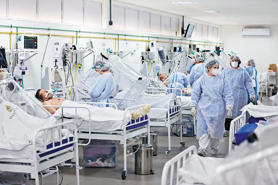 巴西馬瑙斯市一所醫院的深切治療病房, 收納了大批新冠肺炎病人。 法新社