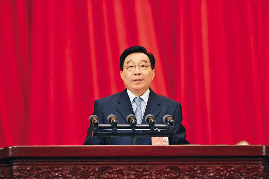 全國人大常委會副委員長王晨昨為關於「港區國安法」草案的說明。