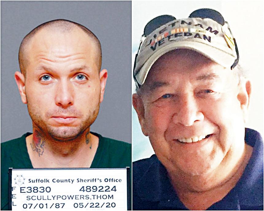 斯庫利-鮑爾斯被控謀殺罪名。右圖為遇害父親。蘇福縣地區檢察官及臉書圖片