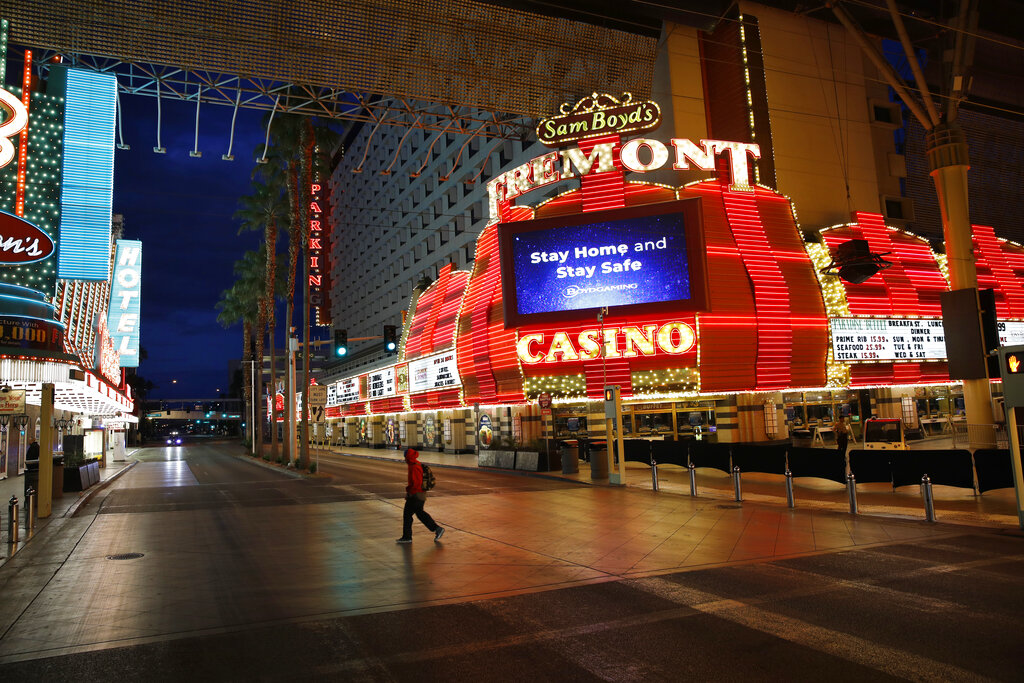 拉斯維加斯賭場因疫情全面關閉。美聯社