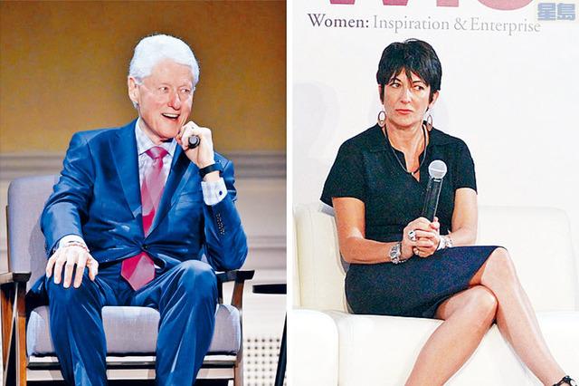 有新書聲稱,前總統克林頓(左圖)曾與孌童癖富豪愛潑斯坦的紅顏知己麥克斯韋爾(右圖)發展婚外情。    合併圖片