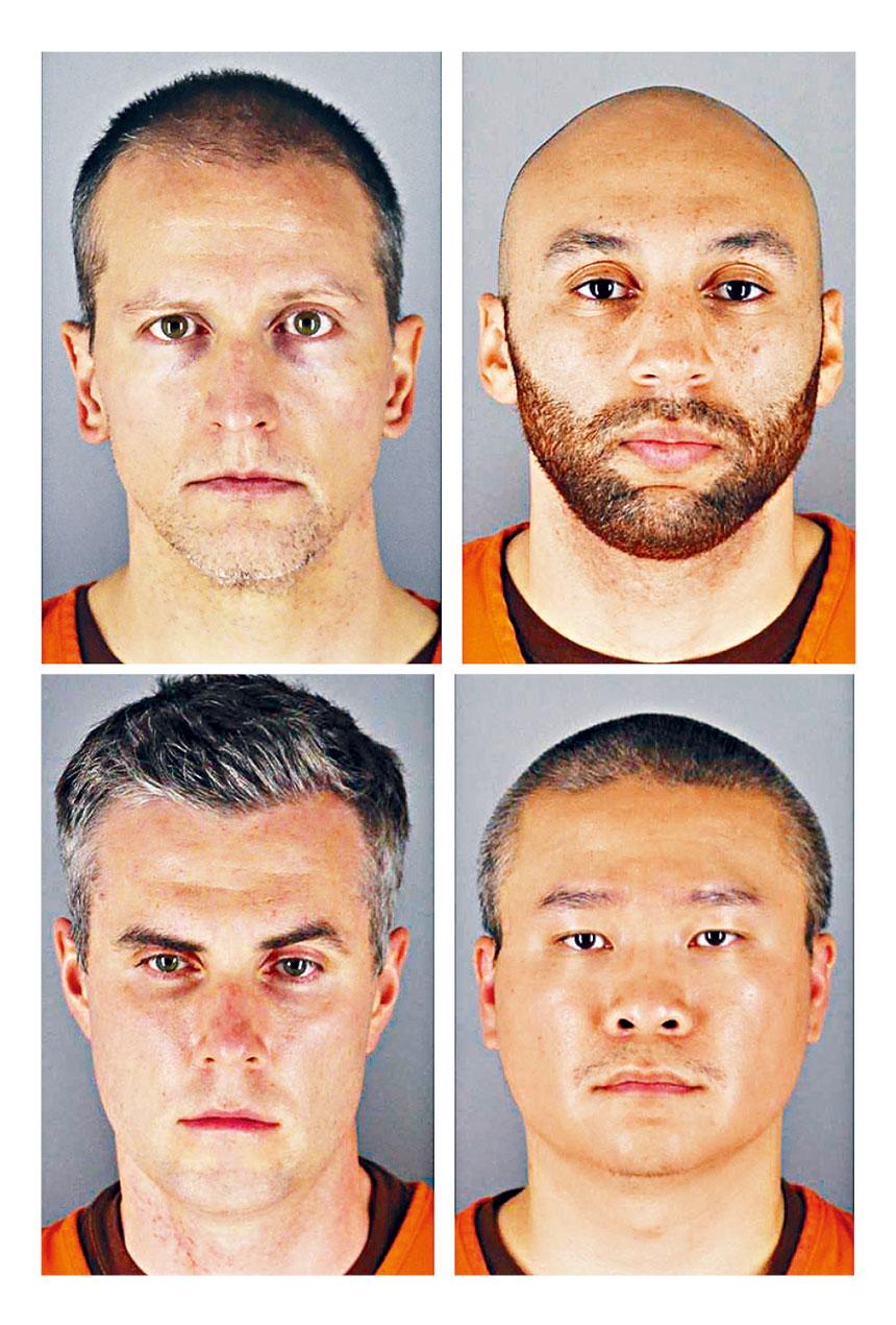 明尼蘇達州黑人弗洛伊德死於警員暴力執法,涉事的4名前警員全部被起訴。上圖左起第一人是最早被起訴的白人警員喬文。美聯社