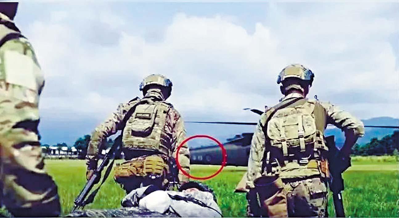 美軍宣傳片中,直升機機身有「陸軍」字眼及「中華民國國徽」。