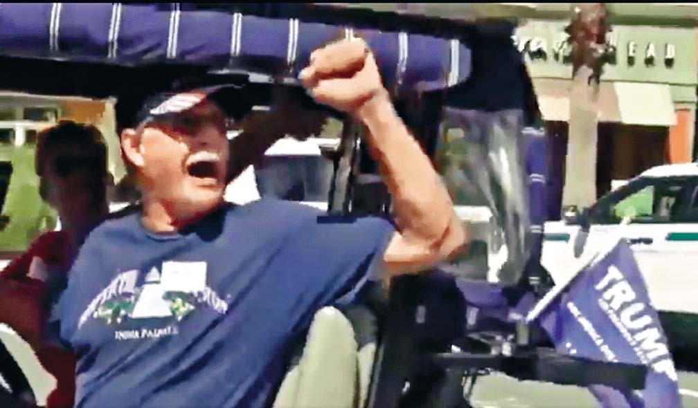 影片可見一名男子在高爾夫球車內,舉拳高叫 白人力量口號。 互聯網