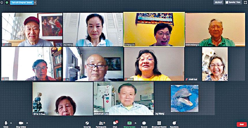 CCACC李志翔會長(第一排最右)在線上感謝報稅義工們的付出。