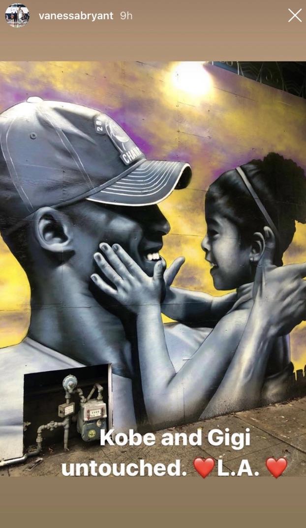Venessa Bryant發圖感激高比紀念牆未受暴動影響。Instagram圖