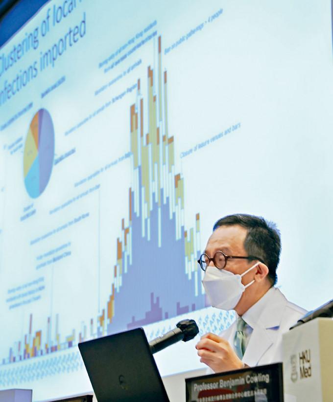 梁卓偉指研究發現,新冠病毒與以往的冠狀病毒都有「超級傳播效應」。