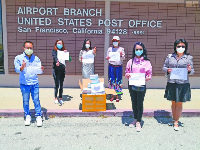 美亞婦女協會(AAWA)向中加州的Mercy Medical Center醫療中心直接寄2,000個口罩。美亞婦女協會提供圖片