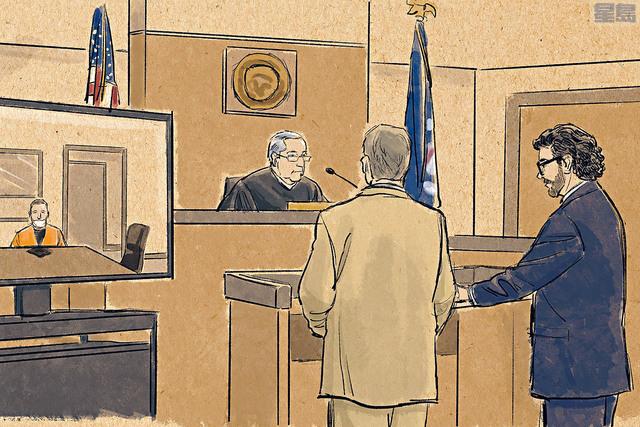 首被告前警員喬文(圖左角)因為正被扣押,需要在監獄內透過視像出庭,喬文被控謀殺、誤殺等罪名,其中二級謀殺罪最高可被判入獄40年。    美聯社