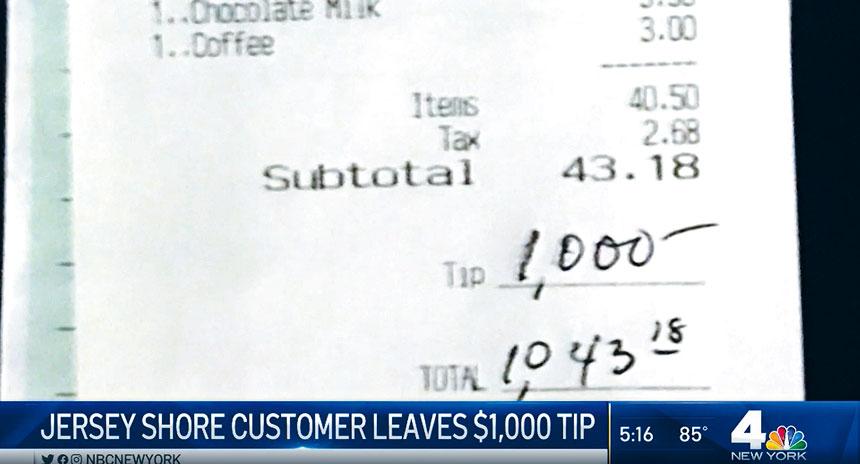 員工在收到1000元小費時,都感到十分意外。NBC新聞截圖