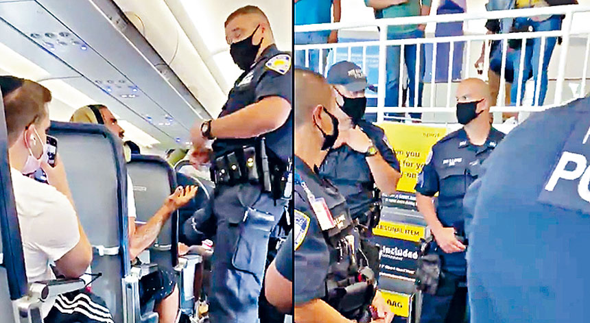 視頻拍下男子被港務局警員趕下機。影片截圖