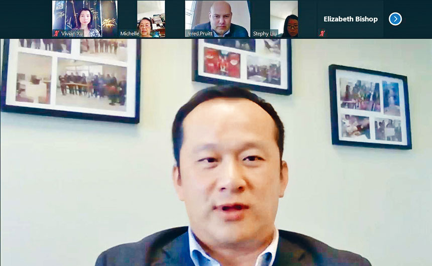 華諮處總裁劉國華聲稱,在疫情蔓延期間,華諮處的服務從沒有中斷過,依然為社區提供各式的服務與協助。( 云端會議截圖)